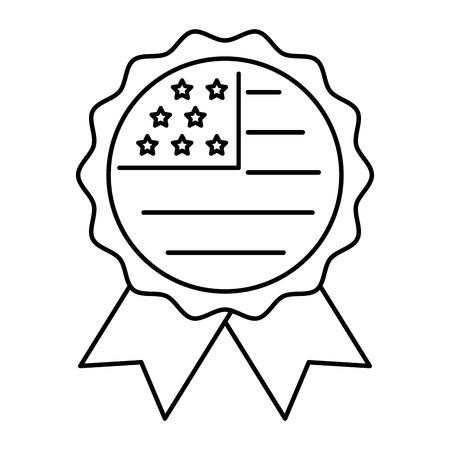 american flag in rosette ornament vector illustration thin line 向量圖像