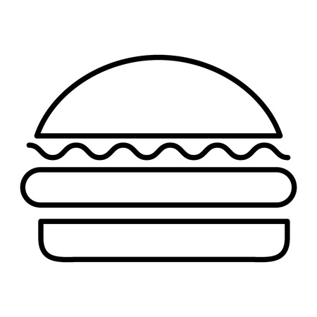 fast food tasty roasted burger vector illustration thin line
