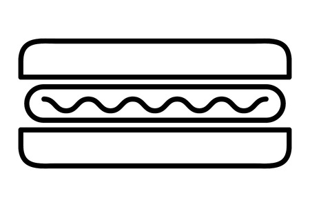 top view fast food hot dog sausage mustard vector illustration thin line