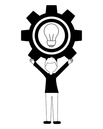 young man with gear and light bulb avatar character vector illustration design