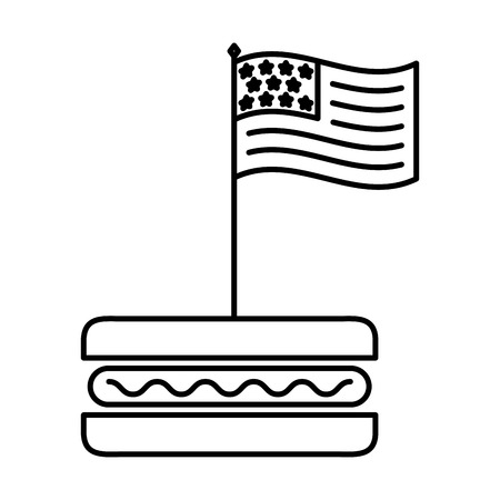 american flag in hot dog fast food vector illustration thin line