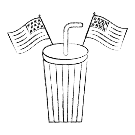 paper cup soda with usa flags celebration vector illustration sketch