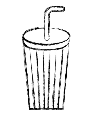 disposable paper cup soda with straw vector illustration sketch Иллюстрация