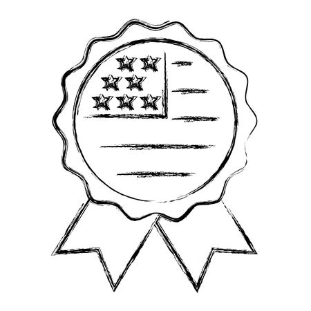 american flag in rosette ornament vector illustration sketch
