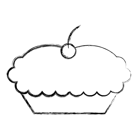 sweet cake with cherry dessert image vector illustration sketch