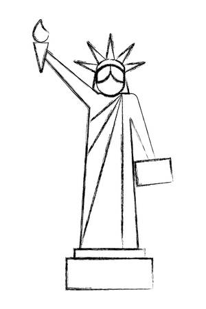 statue of liberty national american symbol vector illustration sketch Illustration