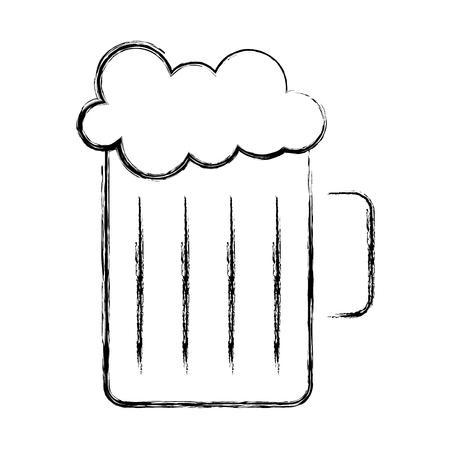 glass beer foam drink image vector illustration sketch