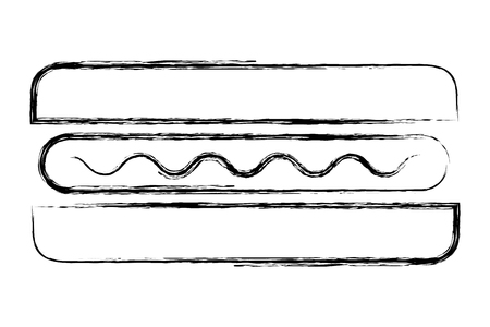 top view fast food hot dog sausage mustard vector illustration sketch