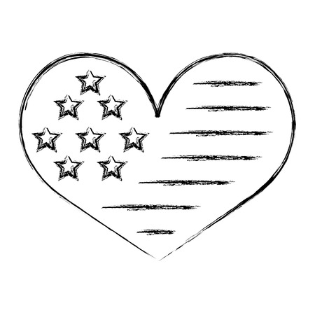 american flag in heart shape image vector illustration sketch