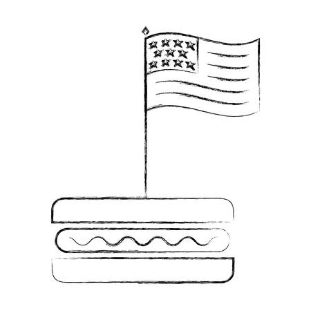 american flag in hot dog fast food vector illustration sketch Illustration