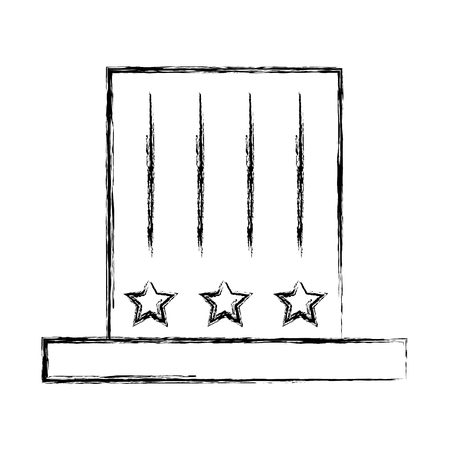 top hat with stripes stars decoration vector illustration sketch