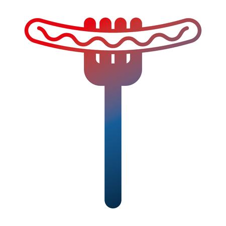 delicious sausage in fork fast food vector illustration gradient design