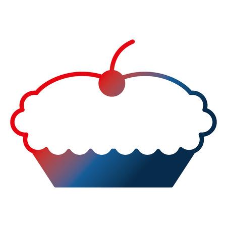 sweet cake with cherry dessert image vector illustration gradient design
