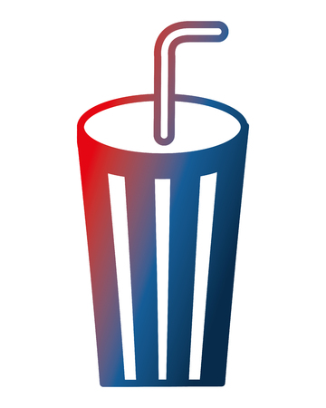 disposable paper cup soda with straw vector illustration gradient design Çizim