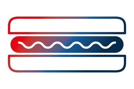 top view fast food hot dog sausage mustard vector illustration gradient design Illustration