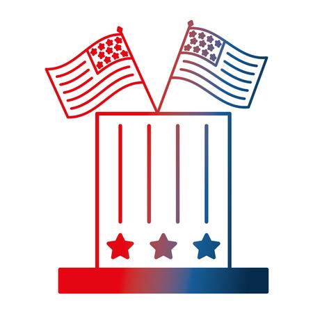 top hat with american flags patriotism vector illustration gradient design Stock Vector - 103544282