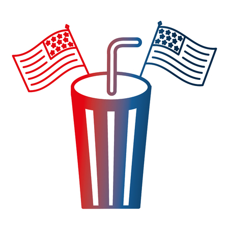 paper cup soda with usa flags celebration vector illustration gradient design 向量圖像