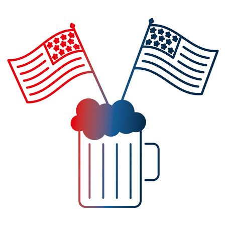 cold beer drink and american flags celebration vector illustration gradient design