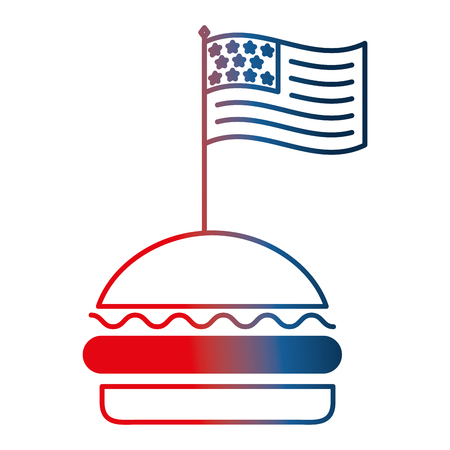 american flag in hamburger fast food vector illustration gradient design 일러스트