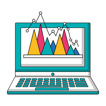 laptop statistics triangle pointed line digital technology vector illustration Illustration