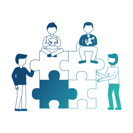 people with puzzle pieces teamwork collaboration vector illustration neon design Illustration