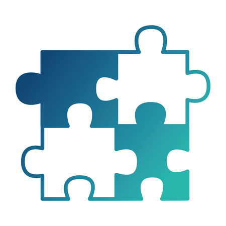 puzzle pieces jigsaw game strategy vector illustration neon design Stock Illustratie