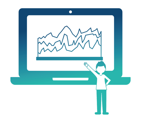man pointing laptop with statistic report vector illustration neon design