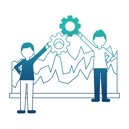 business people holding gear teamwork and statistics diagram vector illustration neon design Banque d'images - 103544860