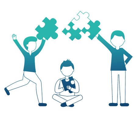 business people holding pieces puzzle teamwork concept vector illustration neon design Standard-Bild - 103545157