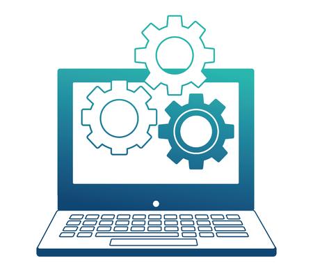 laptop and gears setting work vector illustration neon design Ilustrace