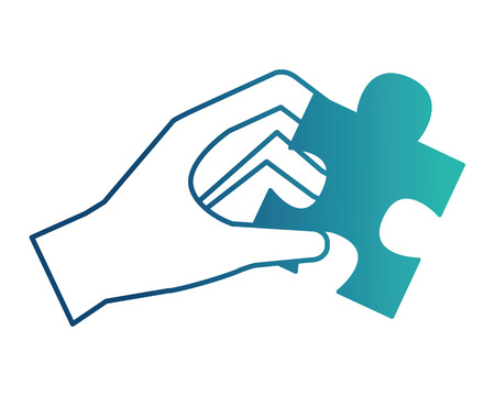 hand holding jigsaw puzzle piece work vector illustration neon design