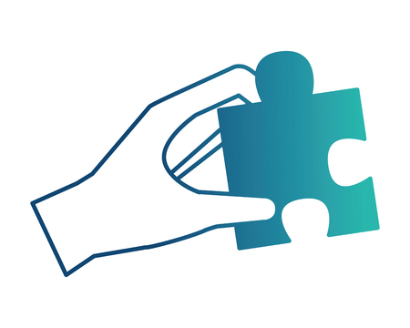 hand holding jigsaw puzzle piece work vector illustration neon design Banque d'images - 103545166