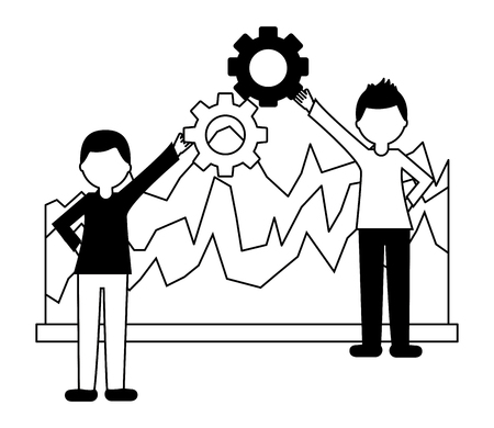 business people holding gear teamwork and statistics diagram vector illustration black and white Standard-Bild - 103545418