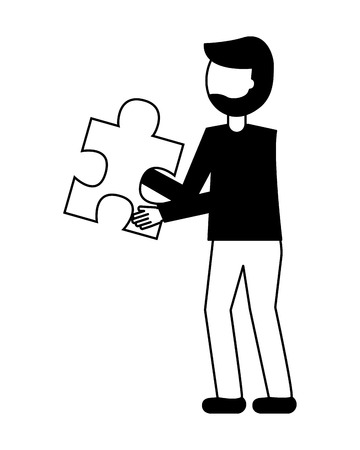 businessman and jigsaw pieces puzzle strategy vector illustration black and white