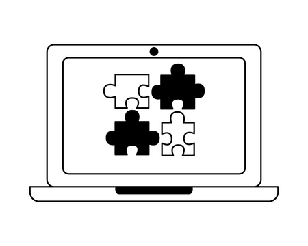 laptop and puzzle pieces solution work vector illustration black and white Stock Illustratie
