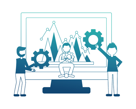 business people and computer with gears financial chart vector illustration neon design
