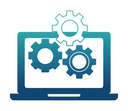 laptop and gears setting work vector illustration neon design Çizim