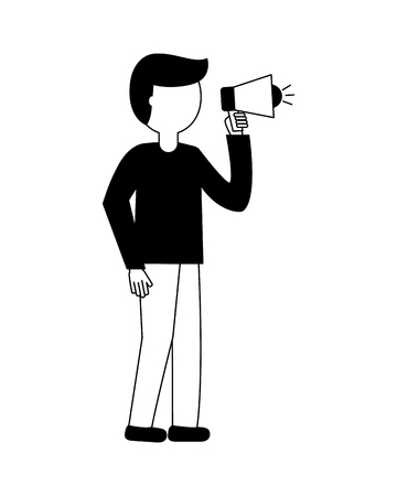 businessman holding megaphone advertising work vector illustration black and white 向量圖像