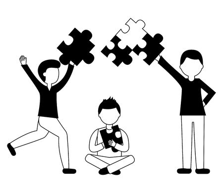 business people holding pieces puzzle teamwork concept vector illustration black and white Standard-Bild - 103545427
