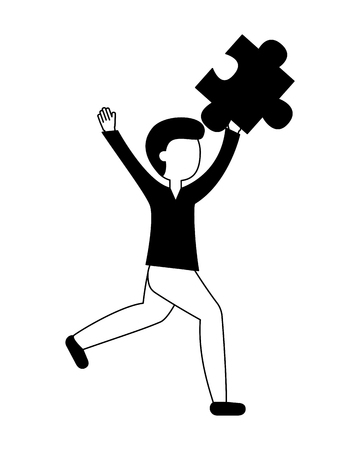 businessman holding jigsaw pieces puzzle success vector illustration black and white