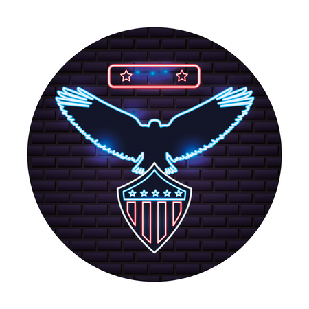 american eagle and shield flag neon on wall vector illustration