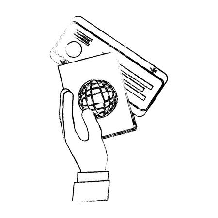 hand holding passport air ticket travel vector illustration vector illustration sketch