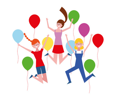 happy group women with balloons vector illustration