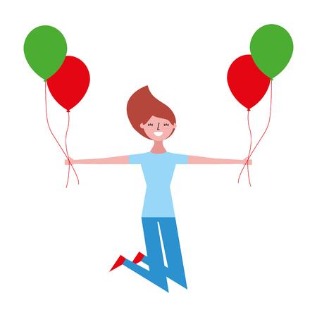 beautiful happy woman with balloon vector illustration