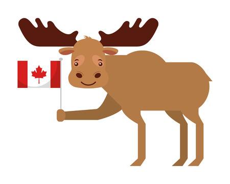 cute moose holding canadian flag vector illustration