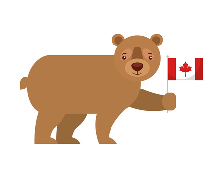 cute bear holding canadian flag vector illustration Illustration
