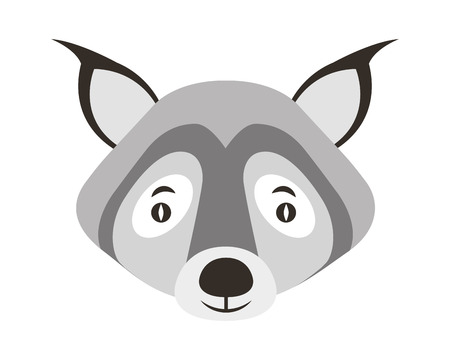cute portrait head wolf wildlife vector illustration