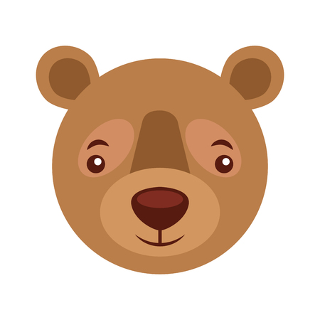 cute head portrait bear grizzly vector illustration