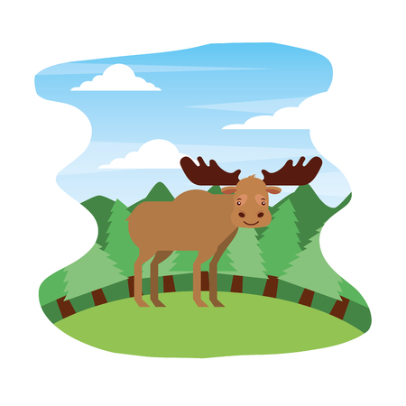 moose animal nature wild in forest landscape vector illustration