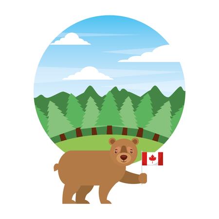 cute bear holding canadian flag in landscape vector illustration